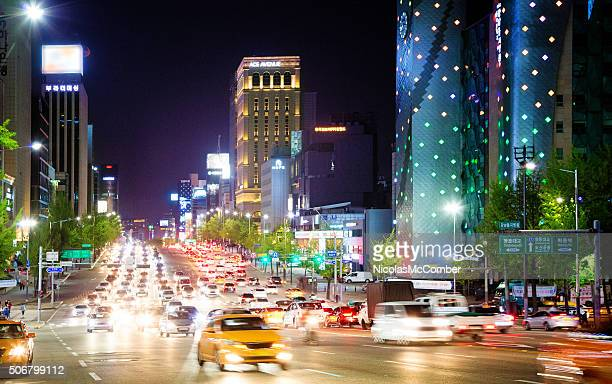 Seoul Dosan-Daero boulevard at night