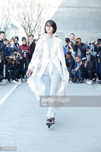 2015 Seoul FW fashion show street snap in Seoul Korea on 26th March