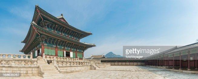 Seoul Gyeongbokgung ornate traditional architecture panorama Korea