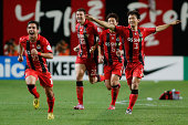 Seoul players react after winning the AFC Champions League Quarter Final match against Pohang Steelers at Seoul World Cup Stadium on August 27 2014...