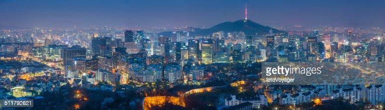 Seoul South Korea futuristic cityscape skyscrapers landmarks illuminated at night