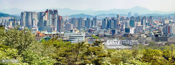 Seoul South Korea North East Skyline panoramic view on Springtime day