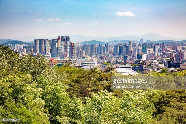 Seoul South Korea Skyline view on Springtime day