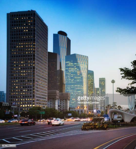 Seoul South Korea Skyline Yeoeuido-dong area at twilight