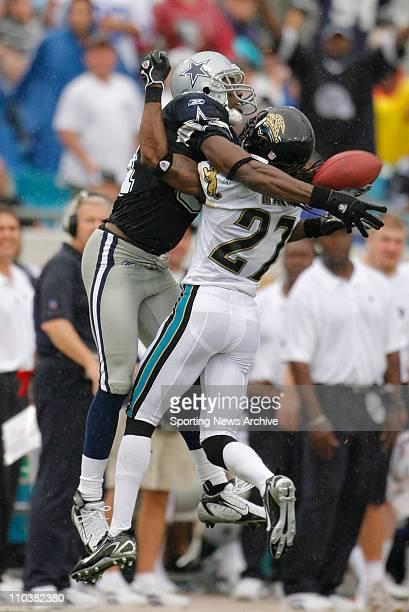 Sep 10 2006 Jacksonville FL USA NFL FOOTBALL Dallas Cowboys TERRELL OWENS is defended by Jacksonville Jaguars RASHEAN MATHIS at Alltel Stadium in...