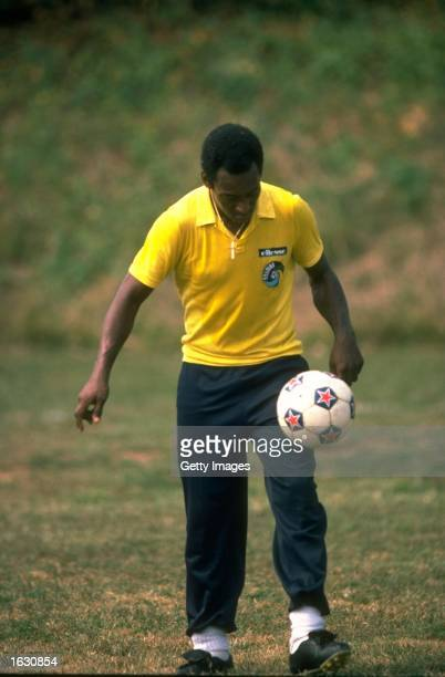 Pele of Brazil in action during training Mandatory Credit Allsport UK /Allsport