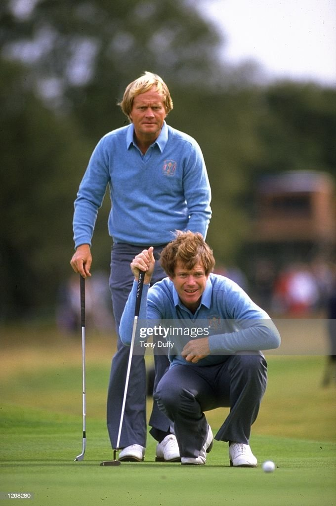 Jack Nicklaus and Tom Watson of the USA check the line of his putt during the Ryder Cup at Walton Heath Golf Club in Surrey England USA won the event...