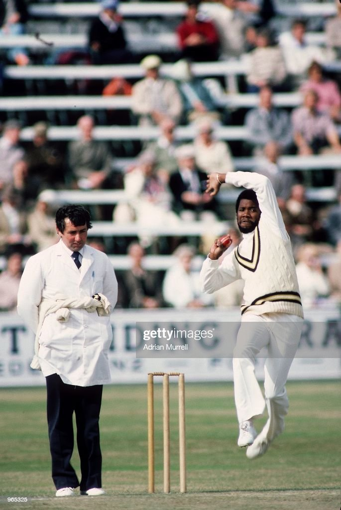 Malcolm Marshall of the West Indies runs in to bowl during an Asda Challenge Cup match at the Festival in Scarborough England Mandatory Credit Adrian...