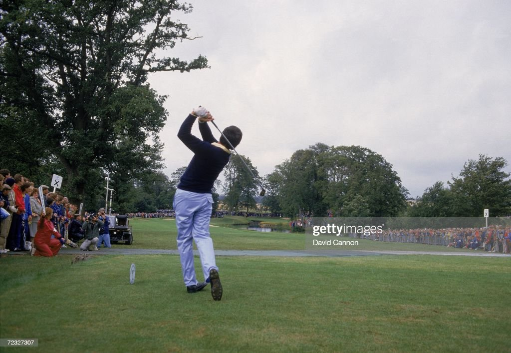 Seve Ballesteros of the European team drives the 10th green during the Ryder Cup at the Belfry in Sutton Coldfield England Mandatory Credit David...