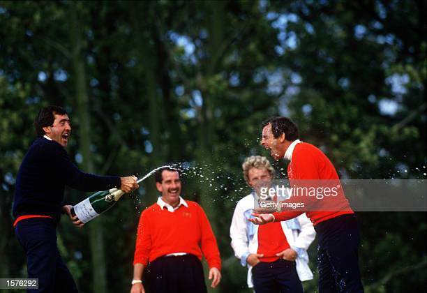 Severiano Ballesteros sprays Tony Jacklin with Champagne as Bernhard Langer and Sam Torrance look on after winning the Ryder Cup played at The Belfry...