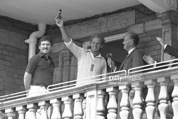 David Gower of England holds up the dummy Ashes as England defeat Australia to win the series by 31 at the Oval In London Mandatory Credit Adrian...
