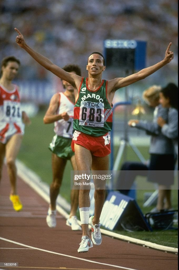 Said Aouita of Morocco acknowledges the crowd after winning the 5000 metres event at the 1987 World Championships in Rome Italy Mandatory Credit Bob...