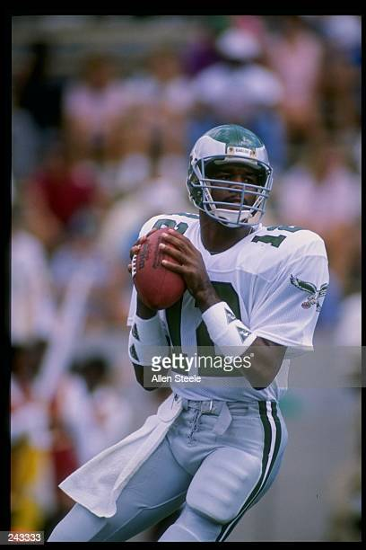 Quarterback Randall Cunningham of the Philadelphia Eagles prepares to throw the ball during a game against the Tampa Bay Buccaneers at Tampa Stadium...