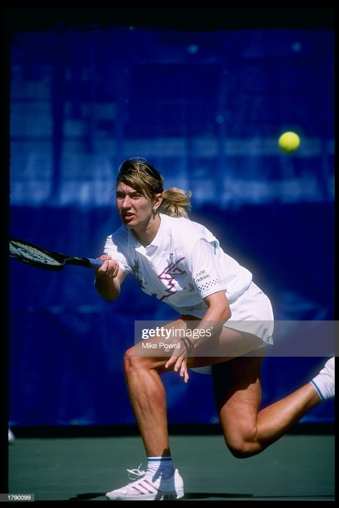 Steffi Graf of Germany swings at the ball during a match at the US Open in Flushing Meadows New York Mandatory Credit Mike Powell /Allsport
