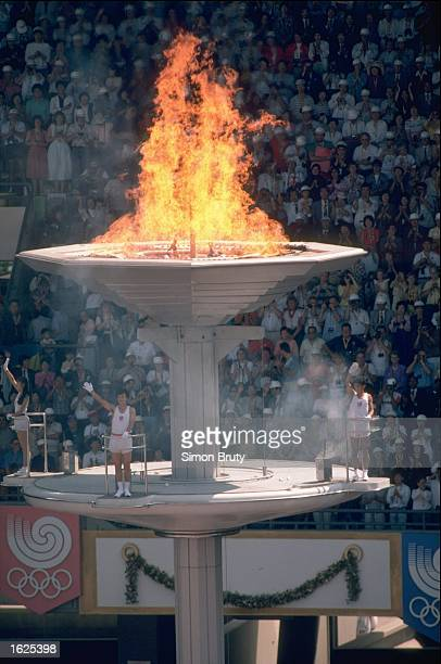 The Olympic flame burns during the opening ceremony at the 1988 Olympic Games in Seoul South Korea Mandatory Credit Simon Bruty/Allsport