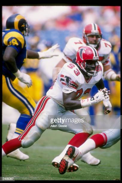 Linebacker Aundray Bruce of the Atlanta Falcons in action during a game against the Los Angeles Rams at Fulton County Stadium in Atlanta Georgia The...