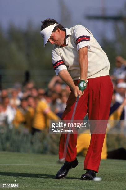 Mark Calcavecchia of the USA tees off during the Ryder Cup at The Belfry in Sutton Coldfield England Mandatory Credit David Cannon /Allsport