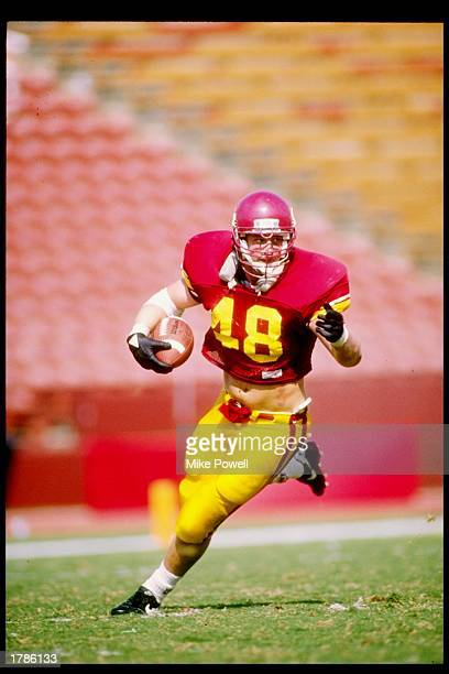 Matt Gee of the USC Trojans runs down the field during a game against the Ohio State Buckeyes at the Los Angeles Memorial Coliseum in Los Angeles...