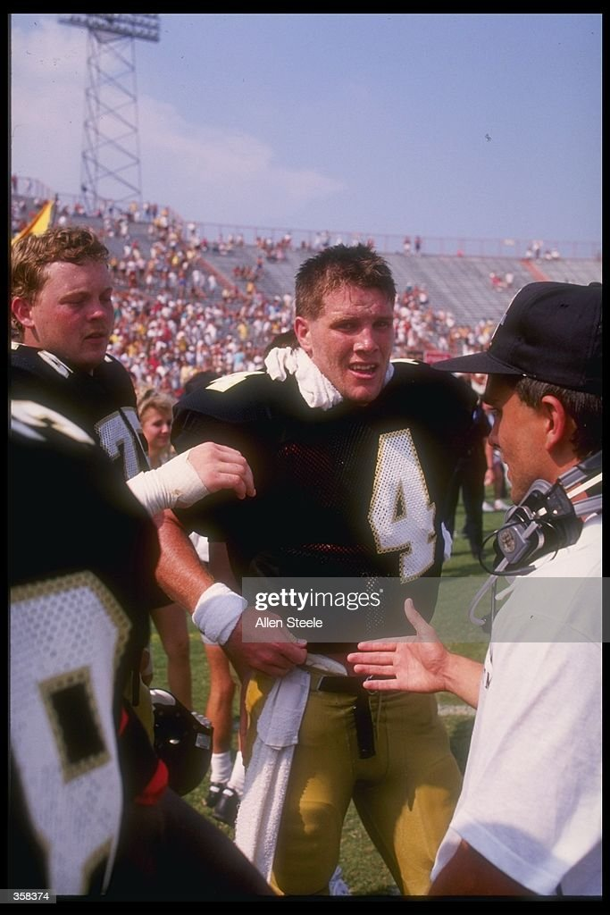 Quarterback Brett Favre of the Southern Mississippi Golden Eagles on the sideline during the Golden Eagles 3026 victory over the Florida State...