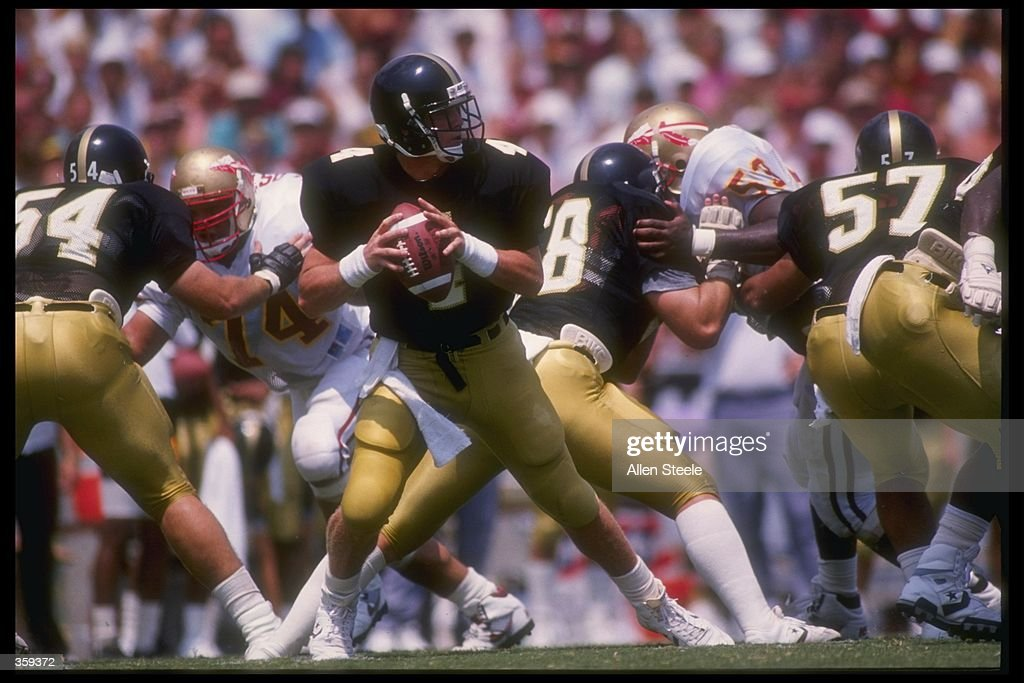 Quarterback Brett Favre of the Southern Mississippi Golden Eagles drops back to pass during the Golden Eagles 3026 victory over the Florida State...