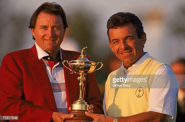 The two captains Ray Floyd of the USA team and Tony Jacklin of the European team with the trophy during the Ryder Cup at The Belfry in Sutton...