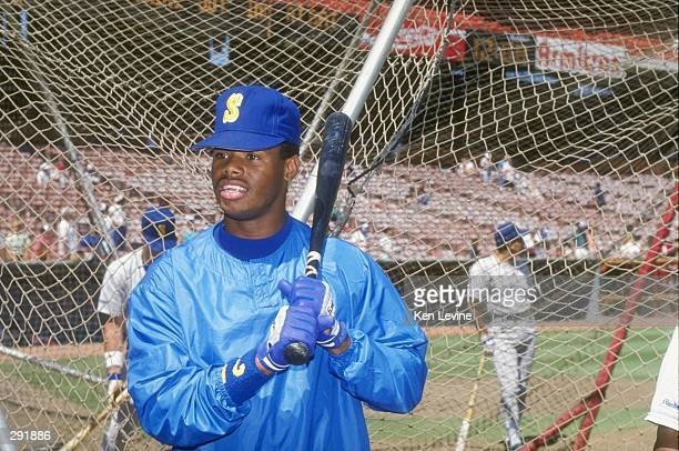 A portrait of Ken Griffey Jr of the Seattle Mariners during batting practice before a game Mandatory Credit Ken Levine /Allsport