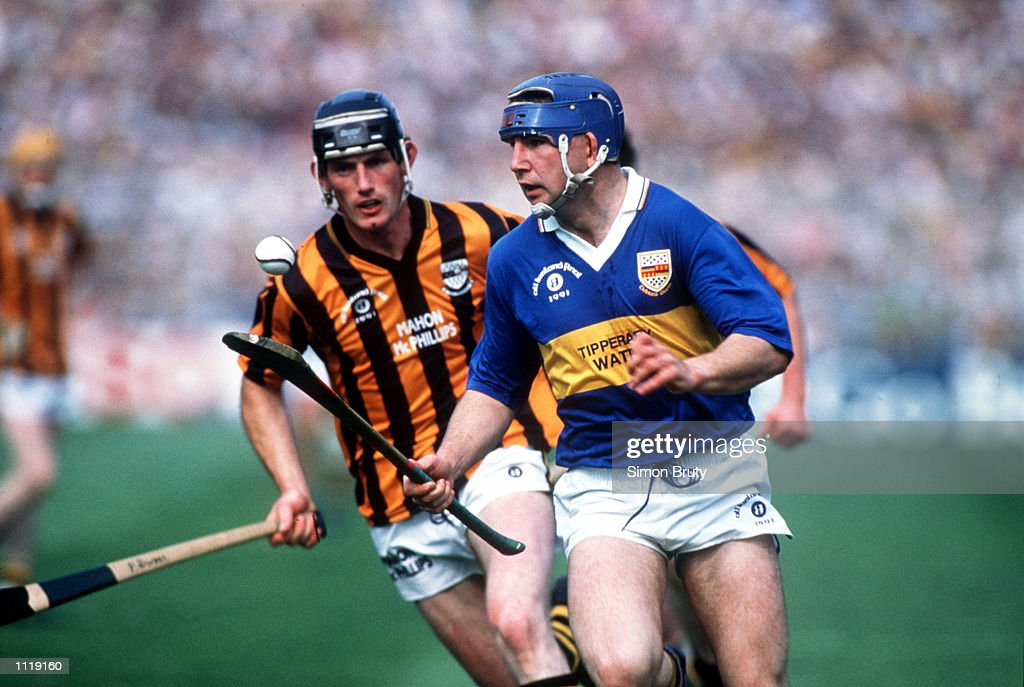 John Teahy of Tipperary and Pat Dwyer of Kilkenny in action during the Tipperary v Kilkenny All Ireland Hurling Final at Croke Park Dublin Mandatory...