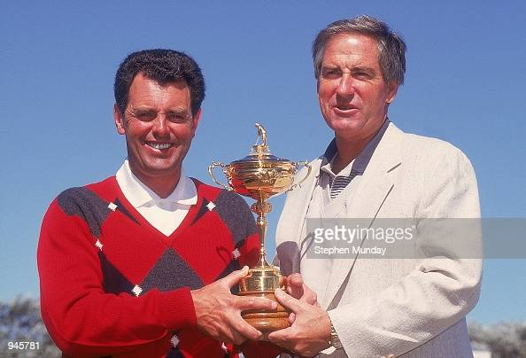 The two captains Bernard Gallacher of Europe and Dave Stockton of the USA with the trophy before the Ryder Cup at Kiawah Island in South Carolina USA...