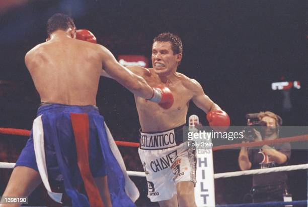 Julio C Chavez lands a straight right on Hector Camacho during a bout at the Hilton in Las Vegas Nevada Chavez won the fight Mandatory Credit Holly...