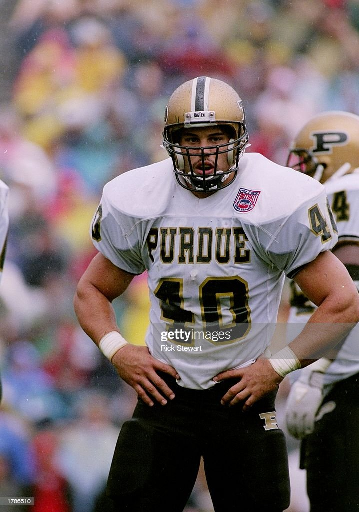 Fullback Mike Alstott of the Purdue Boilermakers stands on the field during a game against the Notre Dame Fighting Irish at Notre Dame Stadium in...