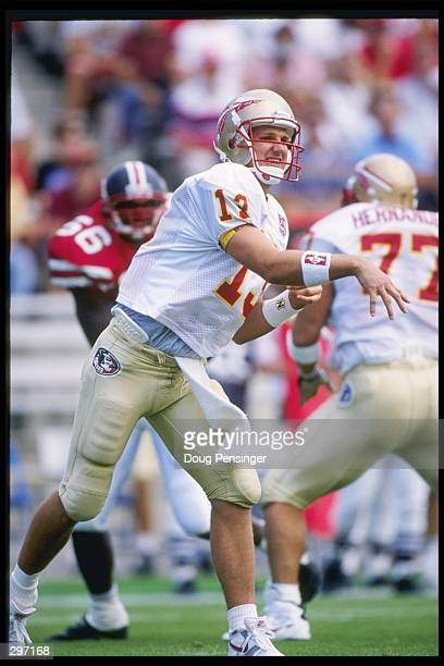 Quarterback Danny Kanell of the Florida State Seminoles drops back during a game against the Maryland Terrapins at Byrd Stadium in College Park...