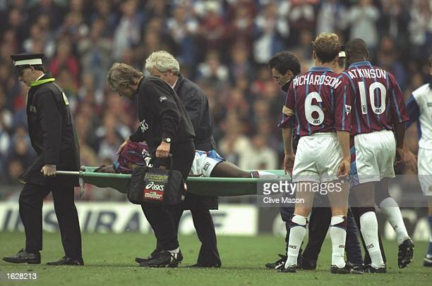 Ugo Ehiogu of Aston Villa leaves the pitch on a stretcher during an FA Carling Premiership match against Blackburn Rovers at Ewood Park in Blackburn...
