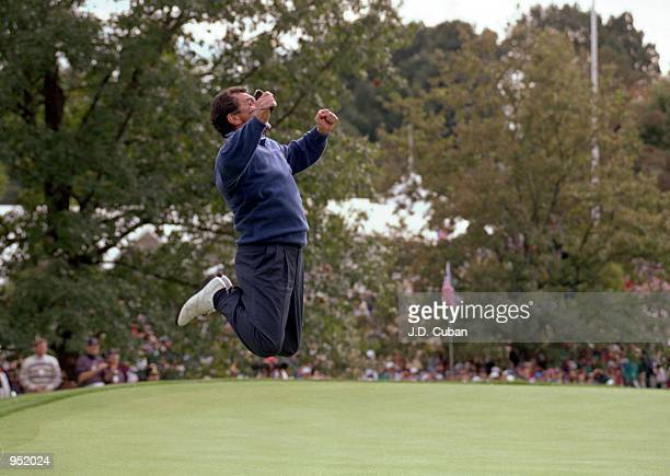 European team captain Bernard Gallacher celebrates at the moment of victory in the Ryder Cup at Oak Hill Country Club in Rochester New York USA...