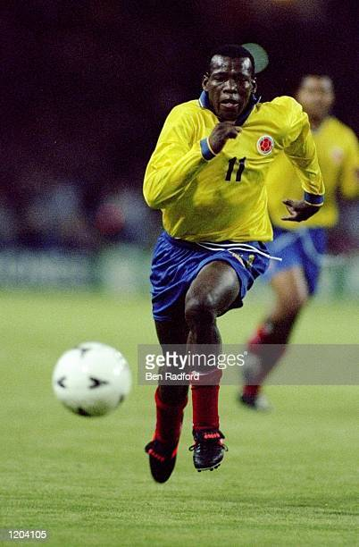 Faustino Asprilla of Colombia chases the ball during a Friendly match against England at Wembley Stadium in London England won the match 10 Mandatory...