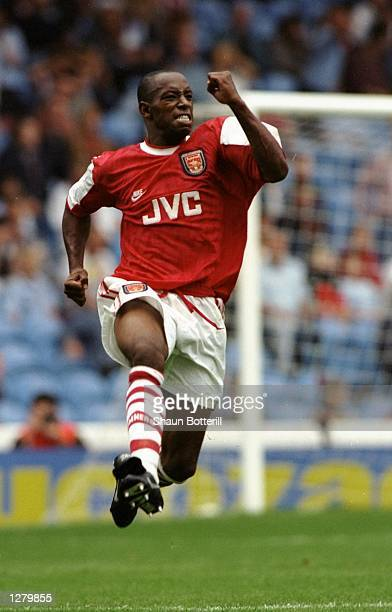 Ian Wright of Arsenal in action during an FA Carling Premiership match against Manchester City at Maine Road in Manchester England Arsenal won the...