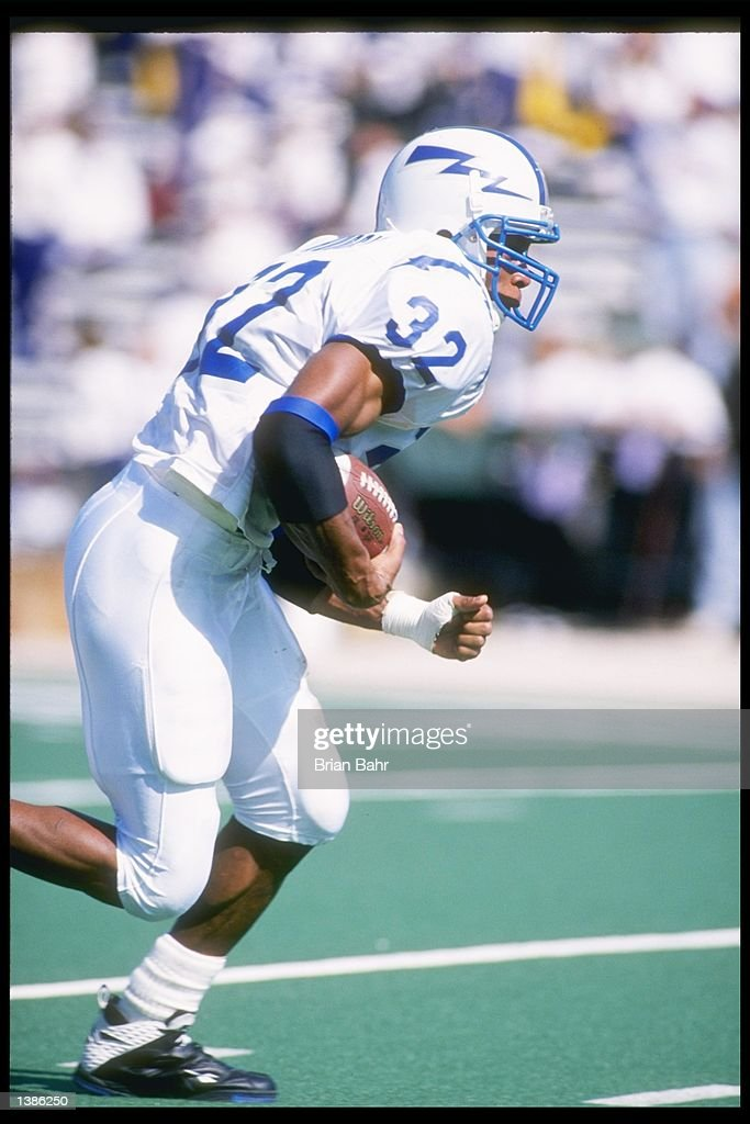 LeRon Hudgins of Air Force carries the football during the Falcons 30-6 loss to Northwestern University at Dyche Stadium in Evanston, Illinois.