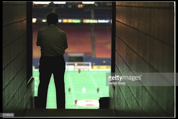 A fan watches from a stairway tunnel prior to the Los Angeles Galaxy 31 Major League Soccer MLS loss to the New York/New Jersey Metrostars at the...