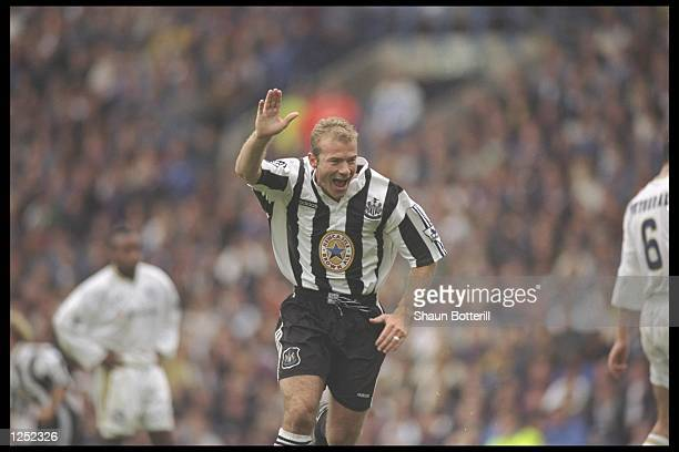 Alan Shearer of Newcastle United celebrates after scoring during the FA Carling Premiership match between Leeds United and Newcastle United at Elland...