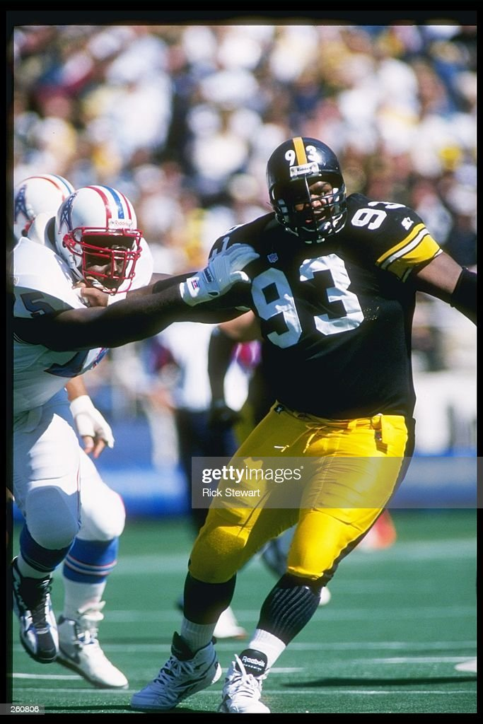 Defensive lineman Joel Steed #93 of the Pittsburgh Steelers gets by Irv Eatman of the Oilers during the Steelers 30-16 win over the Houston Oilers at Three Rivers Stadium in Pittsburgh, Pennsylvania.