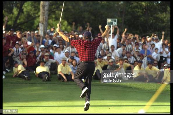 Fred Couples celebrates during the President''s Cup at Lake Manassas Golf Club in Manassas Virginia Mandatory Credit Jamie Squire /Allsport