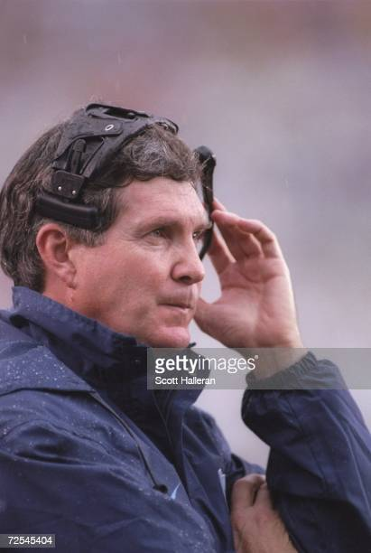 Head coach Mack Brown of the North Carolina Tar Heels looks on from the sideline as he watches his team during a play in the Tar Heels 130 loss to...