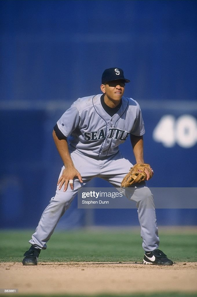 Infielder Alex Rodriguez of the Seattle Mariners in action during a game against the Anaheim Angels at Anaheim Stadium in Anaheim California The...