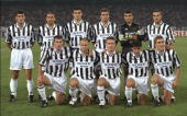 Juventus teamgroup before the start of the European champions league match between Juventus and Manchester United at the Stadio Delle Alpi in Turin...