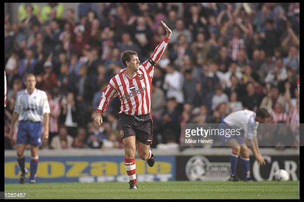 Matt Le Tissier of Southampton celebrates his two goals during the FA Carling Premier League match between Southampton and Middlesbrough at the Dell...