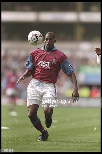 Ugo Ehiogu of Aston Villa in action during the FA Carling Premiership match between Aston Villa and Manchester United at Villa Park in Birmingham...