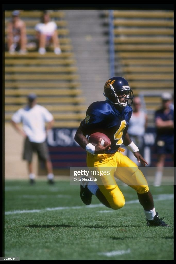 Wide receiver Na''il Benjamin of the California Golden Bears moves down the field during a game against the Nevada Wolf Pack at Memorial Stadium in...
