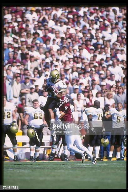 Wide receiver Rae Carruth of the Colorado Buffaloes catches the ball during a game against the Texas AM Aggies at Kyle Field in College Station Texas...