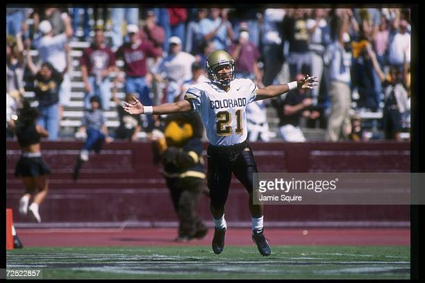 Wide receiver Rae Carruth of the Colorado Buffaloes celebrates during a game against the Texas AM Aggies at Kyle Field in College Station Texas...