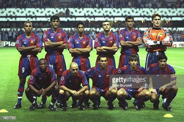 A group photograph of the Barcelona team before the Champions League match against Newcastle at St James'' Park in Newcastle England Newcastle won...