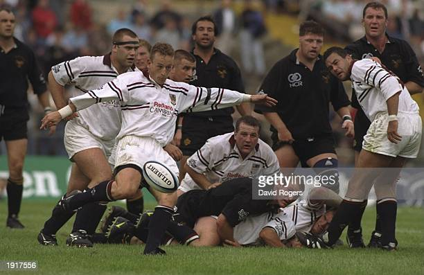 Andy Booth of Swansea clears the ball during the Heineken European Cup match against Wasps at the St Helens ground in Swansea Wales Wasps won the...
